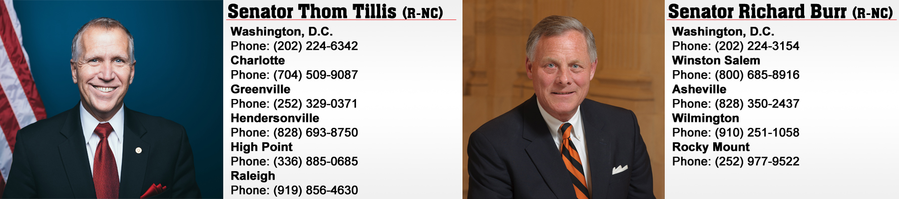 Senators Tillis and Burr Contact Information