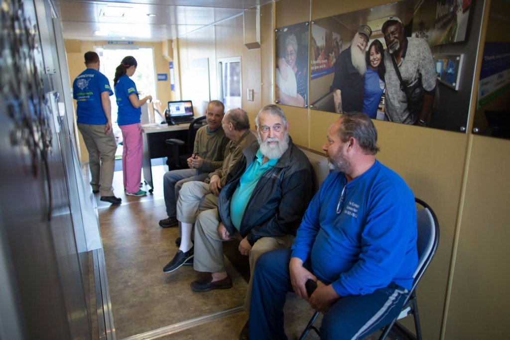 Veteran patients wait for a dental exam in Myrtle Beach, South Carolina, March 9, 2017.